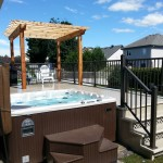Western red cedar and pressure treated lumber deck pergola Ottawa