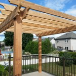Western red cedar and pressure treated lumber - vinyl deck pergola install Ottawa